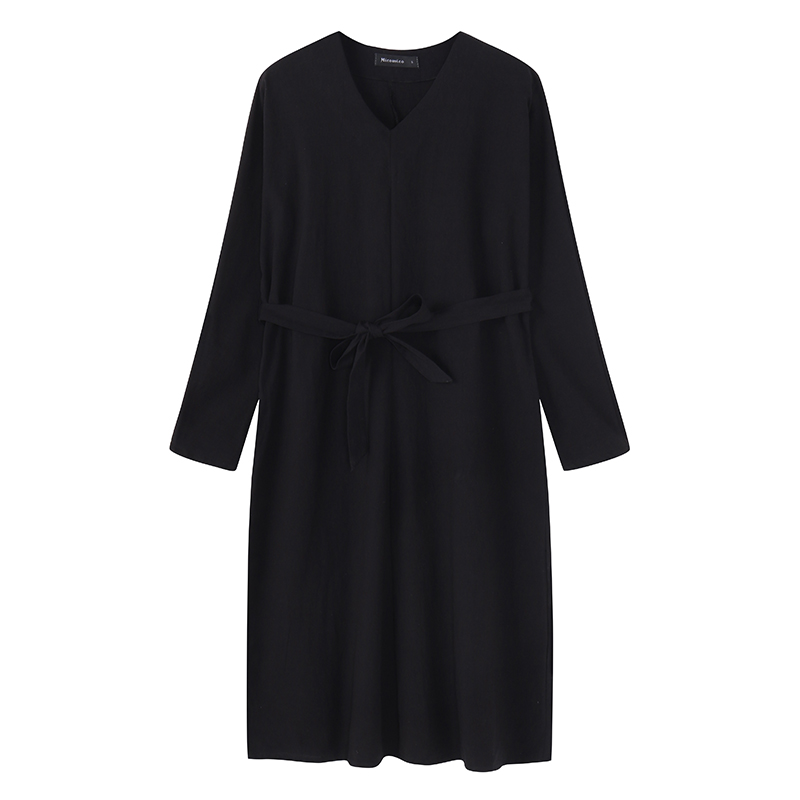 S-5XL Casual Women V-neck Loose Mid-long Dress