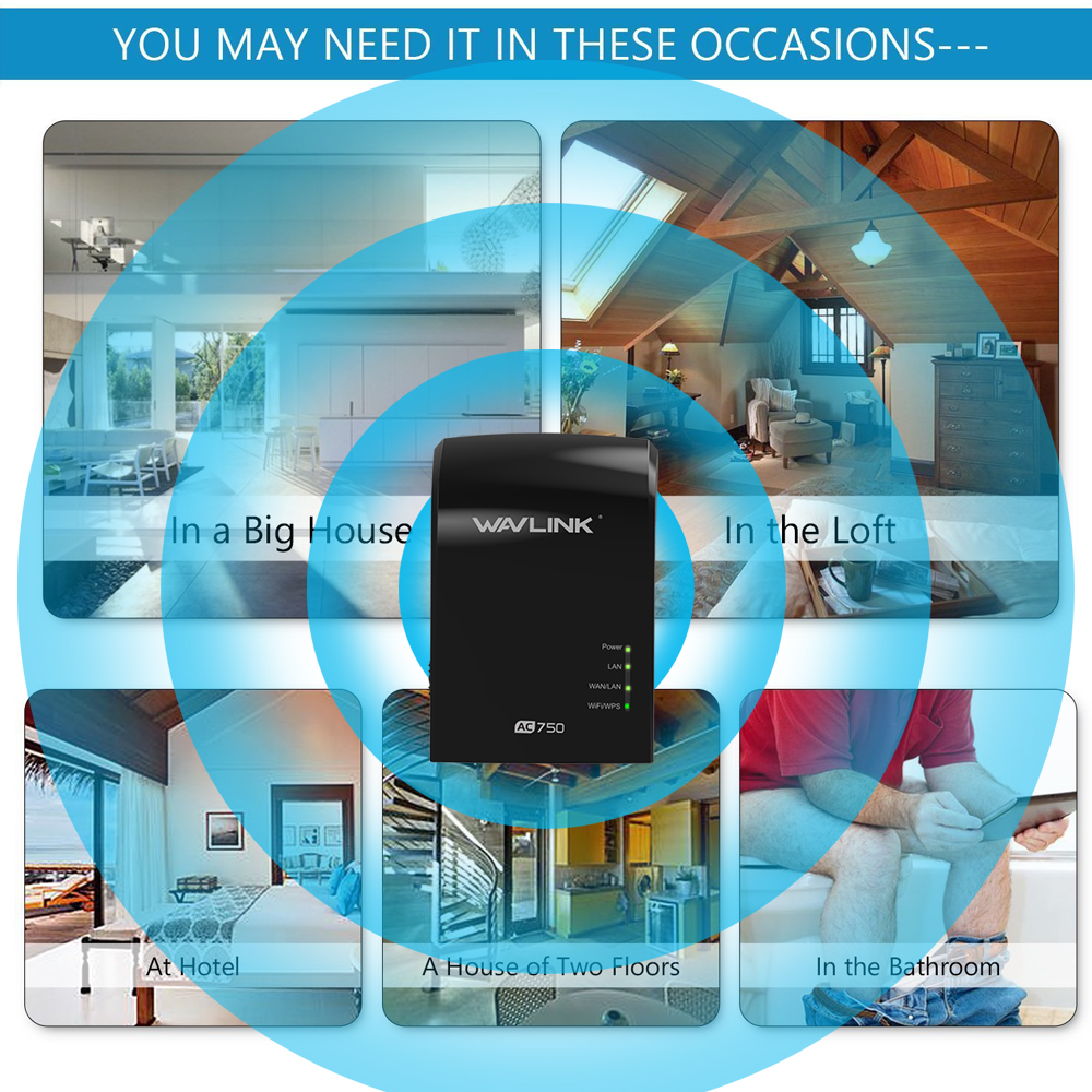 Wavlink 750Mbps Dual Band 3 in One Wifi Repeater Router Built-in Antenna UK/EU/US Plug 29
