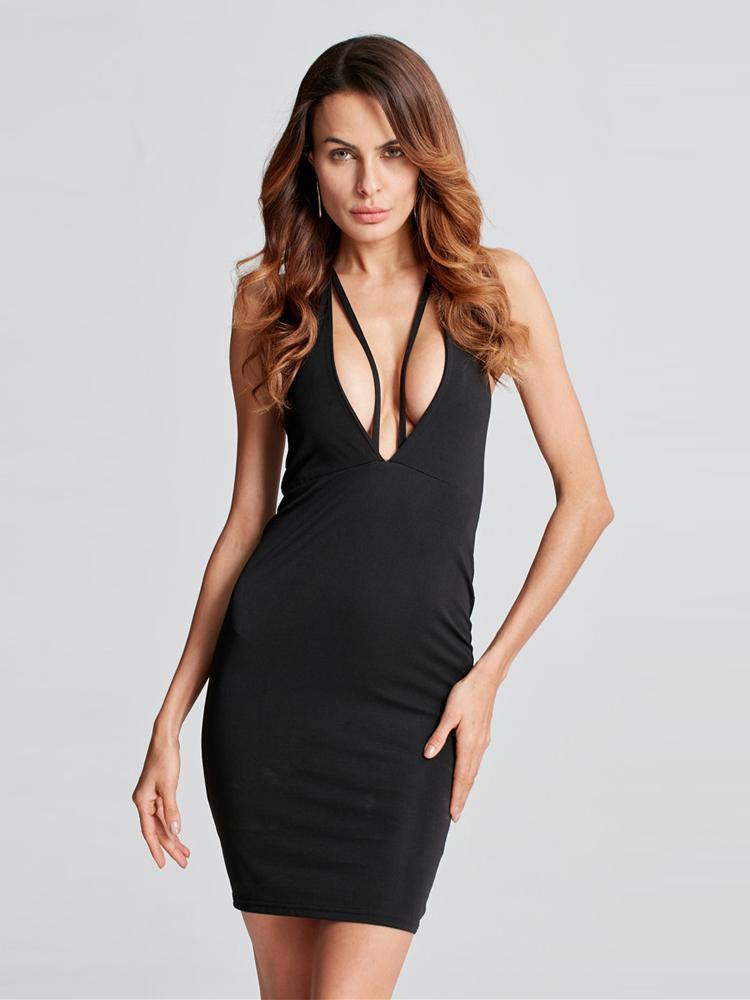 Sexy Women Sleeveless Backless V-neck Party Pencil Dresses