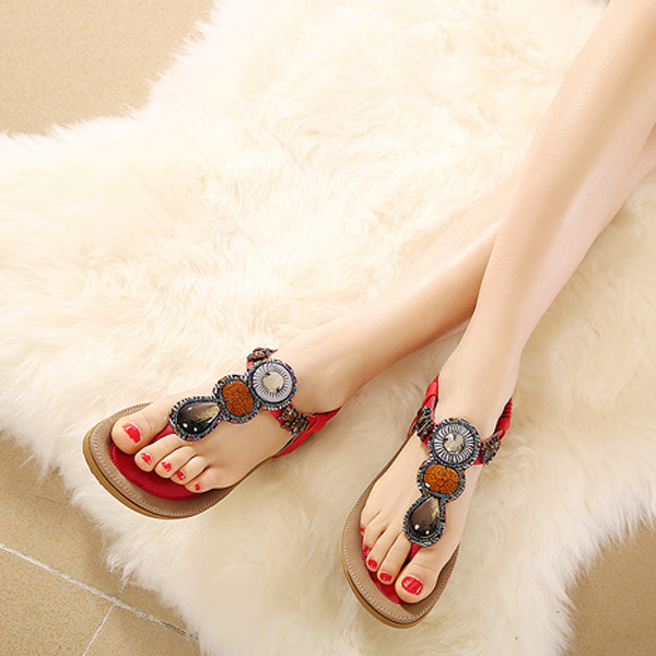 Bohemia Rome Style Beaded Jewelry Lady Sandals Soft Outsole Shoes