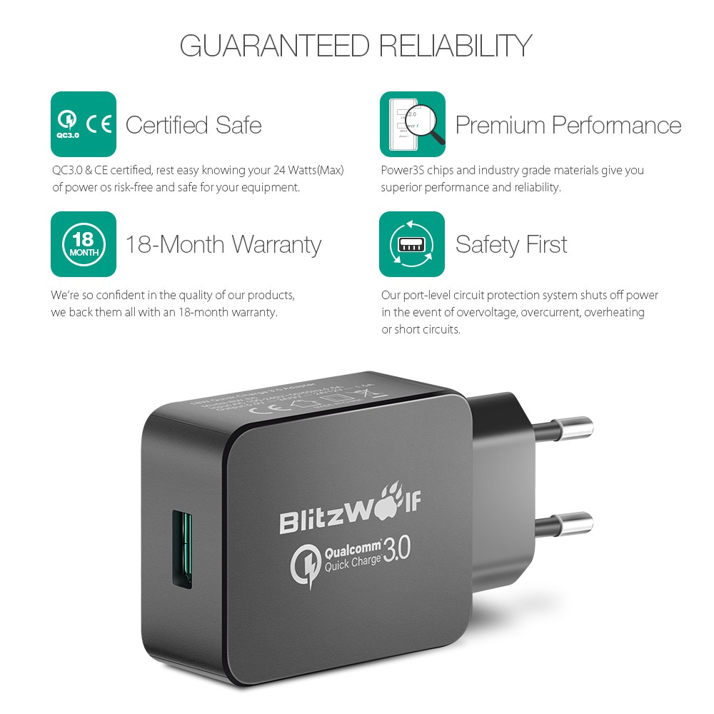 Qualcomm Certified Blitzwolfa Bw S5 Qc30 18w Usb Charger Eu And Adapter Power Circuit Free Electronic Circuits Certifiedblitzwolf With Power3s Quick Charge 30 Tech Compatible 20 For Samsung Lg