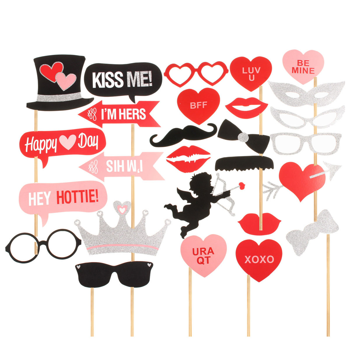 27Pcs Photo CUPID Bling Mustache Stick Booth Wedding Prop