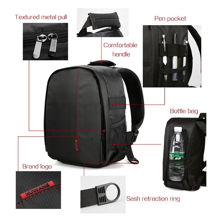 HUWANG 7460 Waterproof Multi-functional DSLR Video Photo Digital Camera Bag Padded Backpack 10