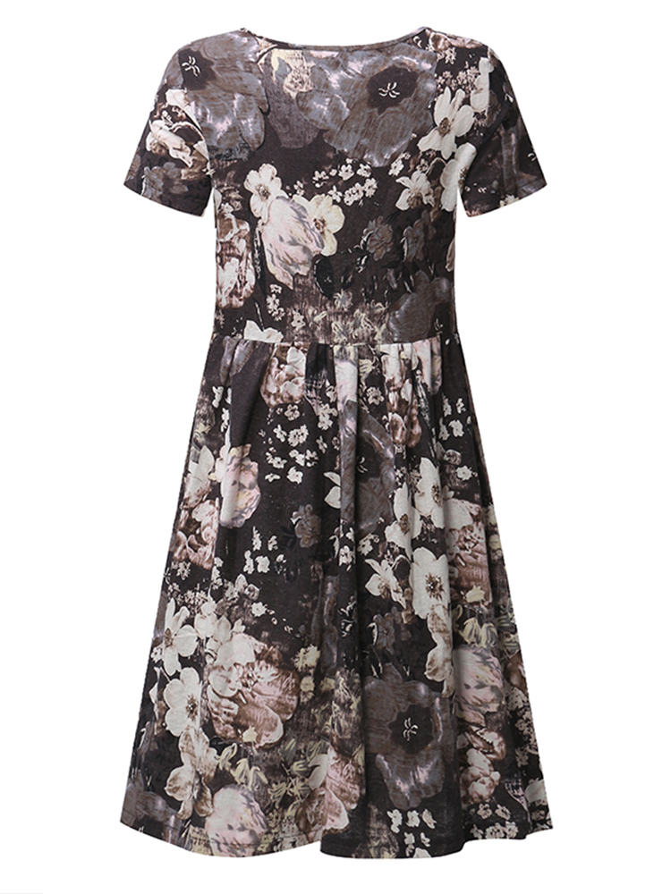 Casual Women Ink Printing Short Sleeve O-Neck Dresses