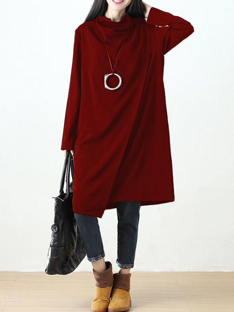 Casual Women Solid High Neck Layers Long Sleeve Dresses