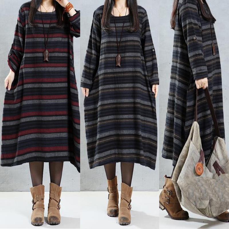 M-5XL Casual Stripe O-neck Long Sleeve Mid Long Women Dress
