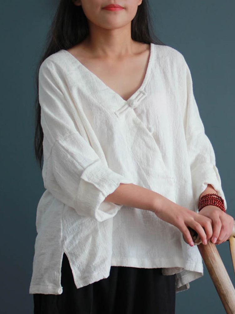 Women Casual Long Sleeve V-neck Plate Buckle Solid Asymmetric Blouses