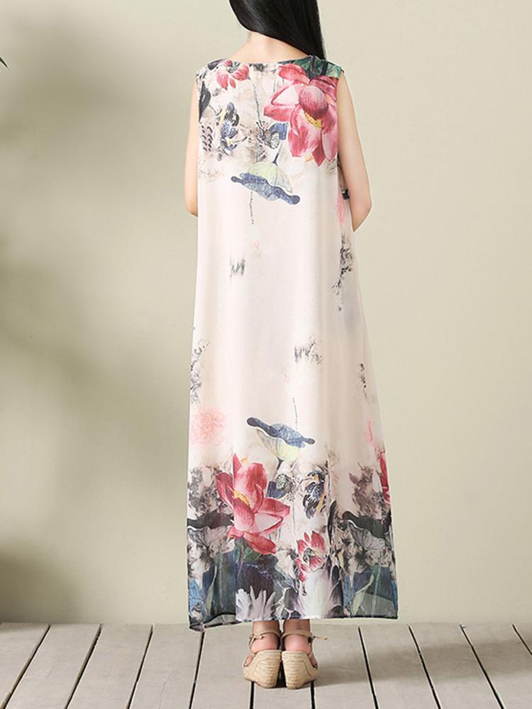 Vintage Women Lotus Printed O-Neck Sleeveless Maxi Dress