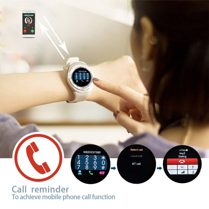 KALOAD Y1 Plus Heart Rate Blood Pressure Monitor Pedometer Remote Camera Smart Watch