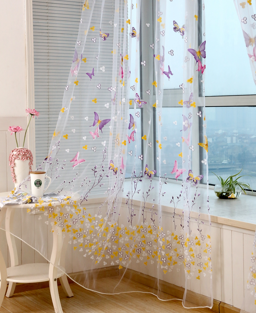 Honana Colorful Butterfly Flower Voile Curtain Panel Window Room Divider Sheer Curtain Home