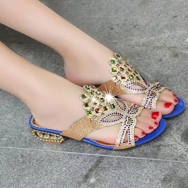Women Summer  Beach Sandals Rhinestone Slip On Sandals Platform Sandals