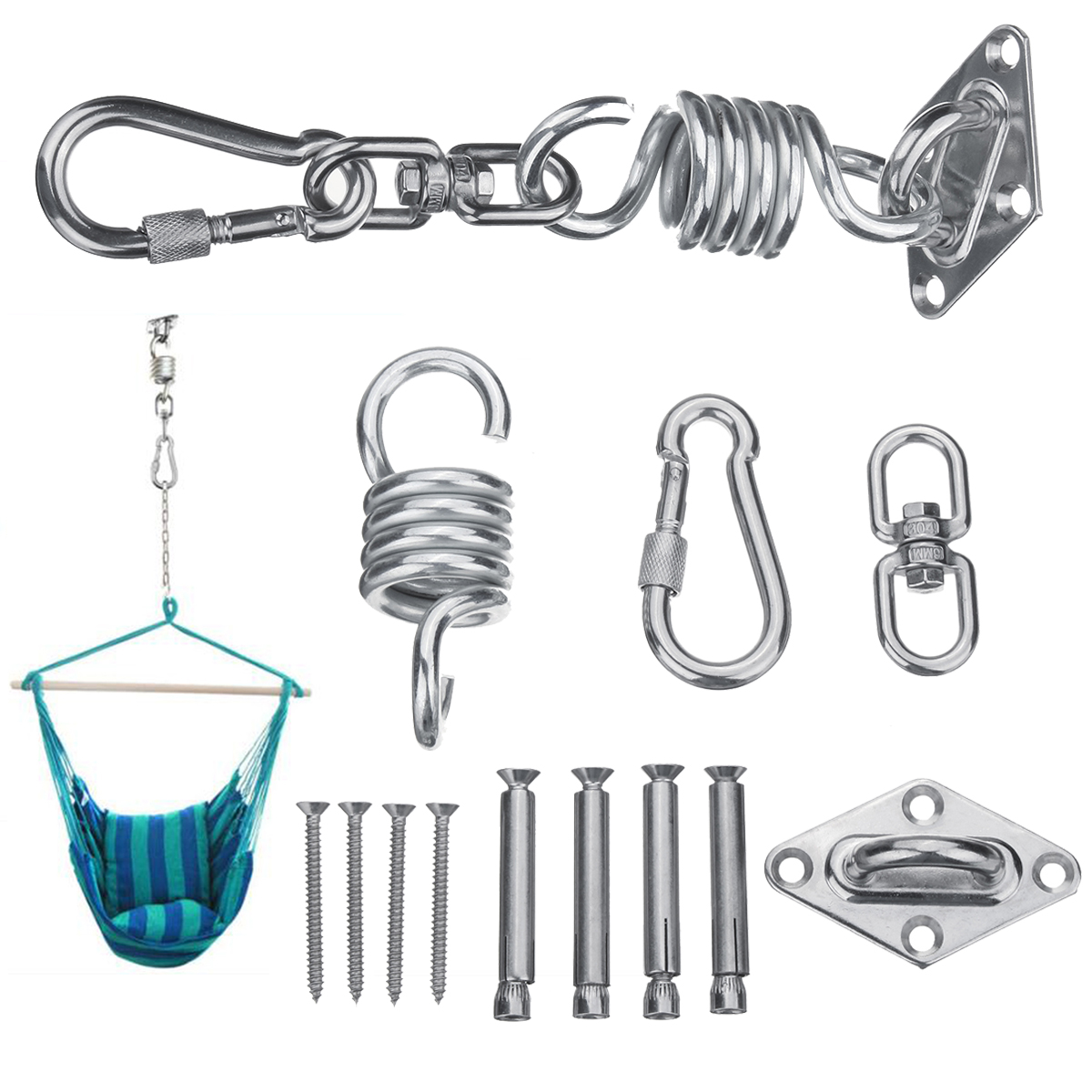 Stainless Steel Hammock Chair Hanging Kit Ceiling Mount Spring Swivel Snap Hook Accessories Sale