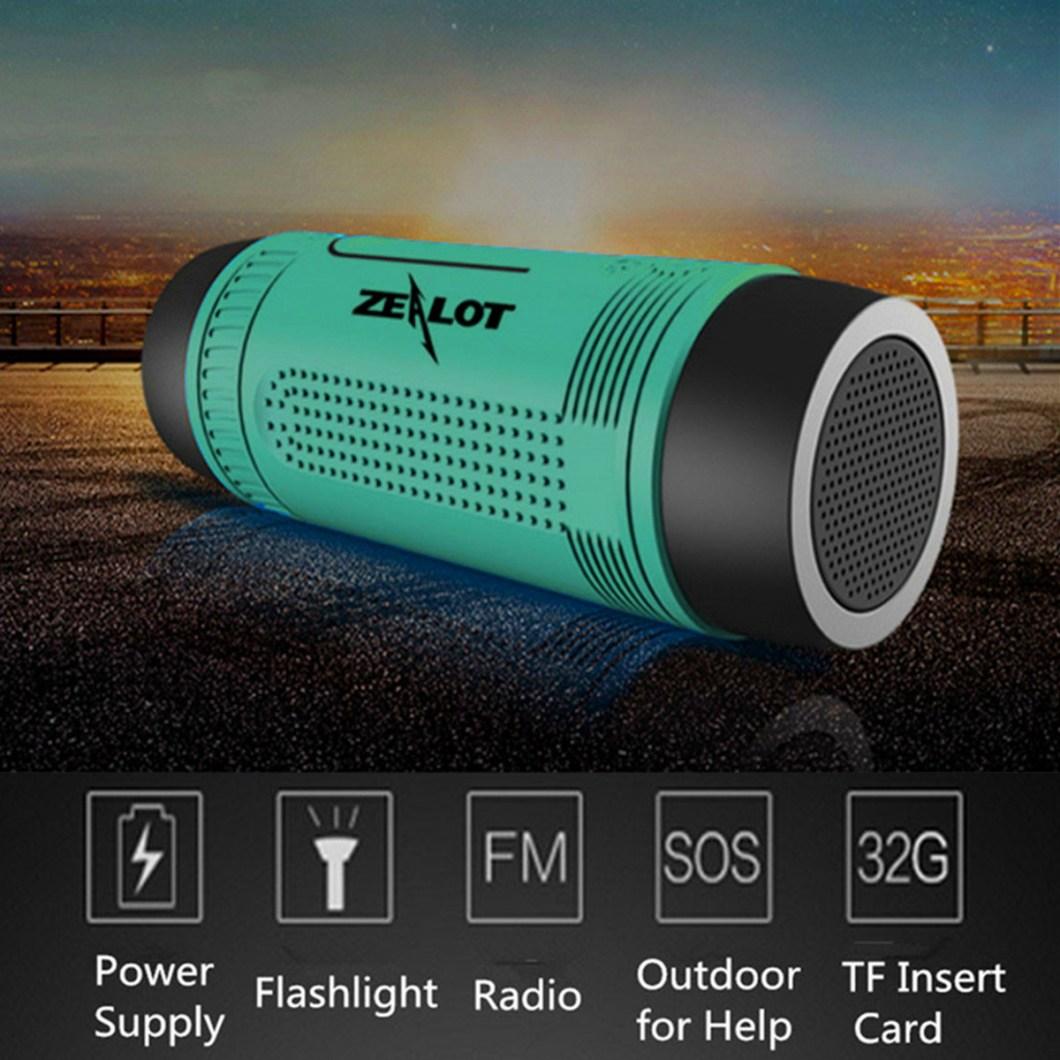 Zealot S1 Wireless Bluetooth Speaker Dustproof Waterproof Flashlight FM Power Bank Multi F 15