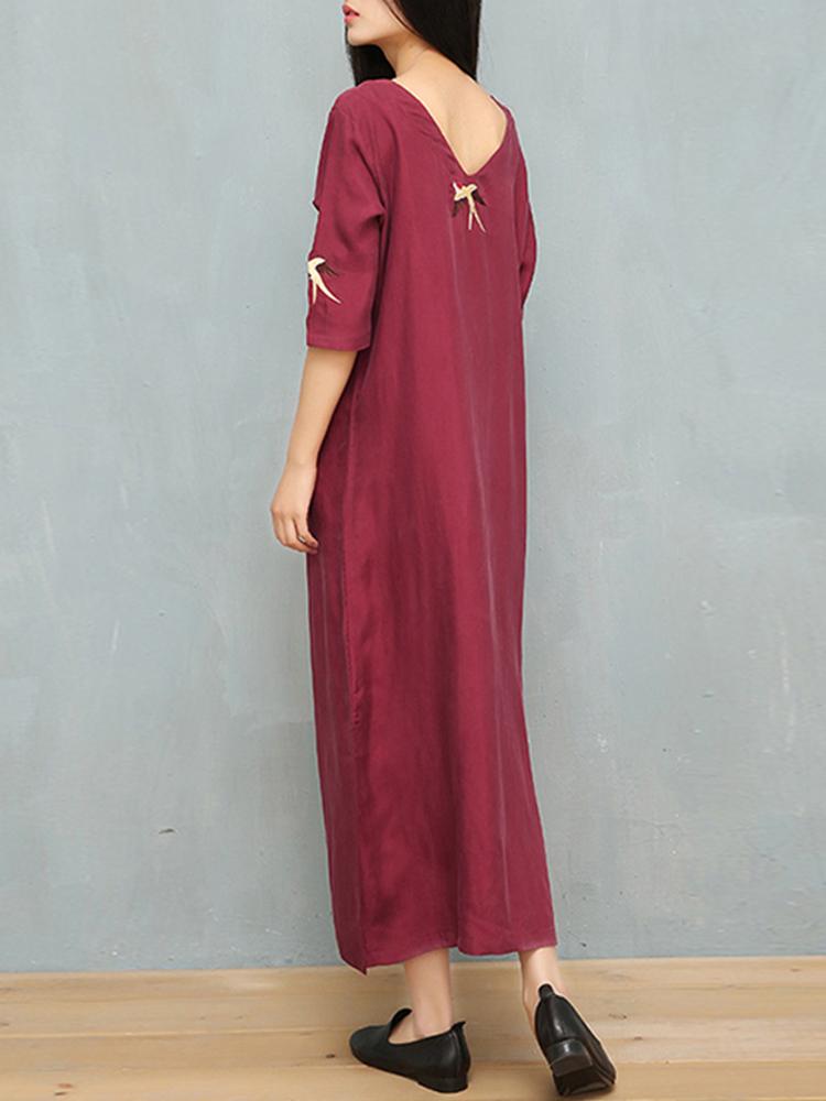 Ethnic Women Embroidery V-neck Loose 3/4 Sleeve Dress
