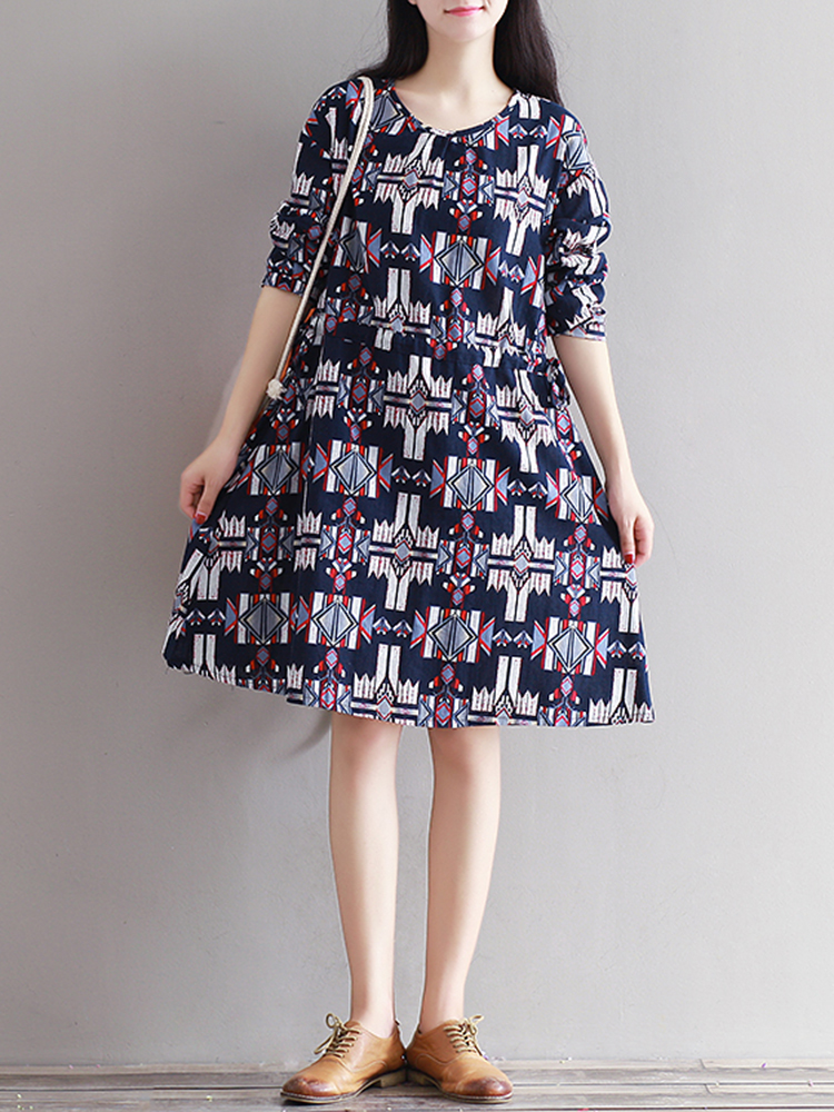 Casual Women Long Sleeve Drawstring Printed Dress