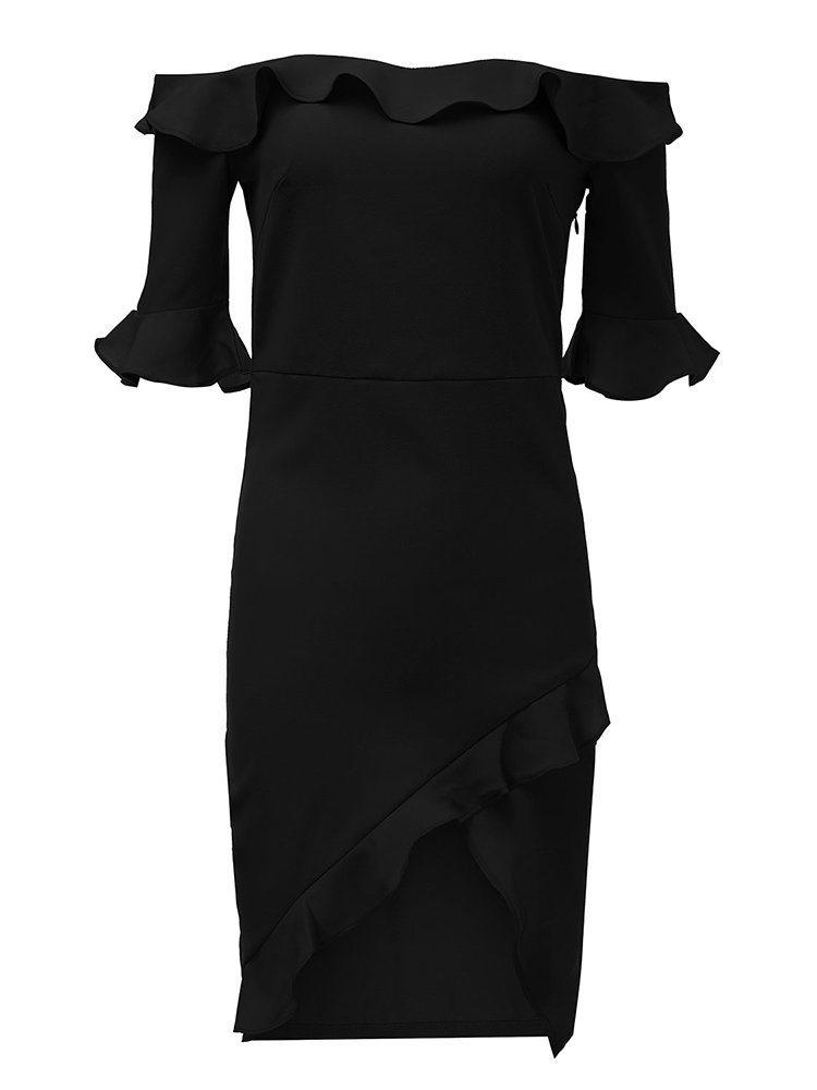 Sexy Women Off Shoulder Ruffle Split Party Bodycon Dress