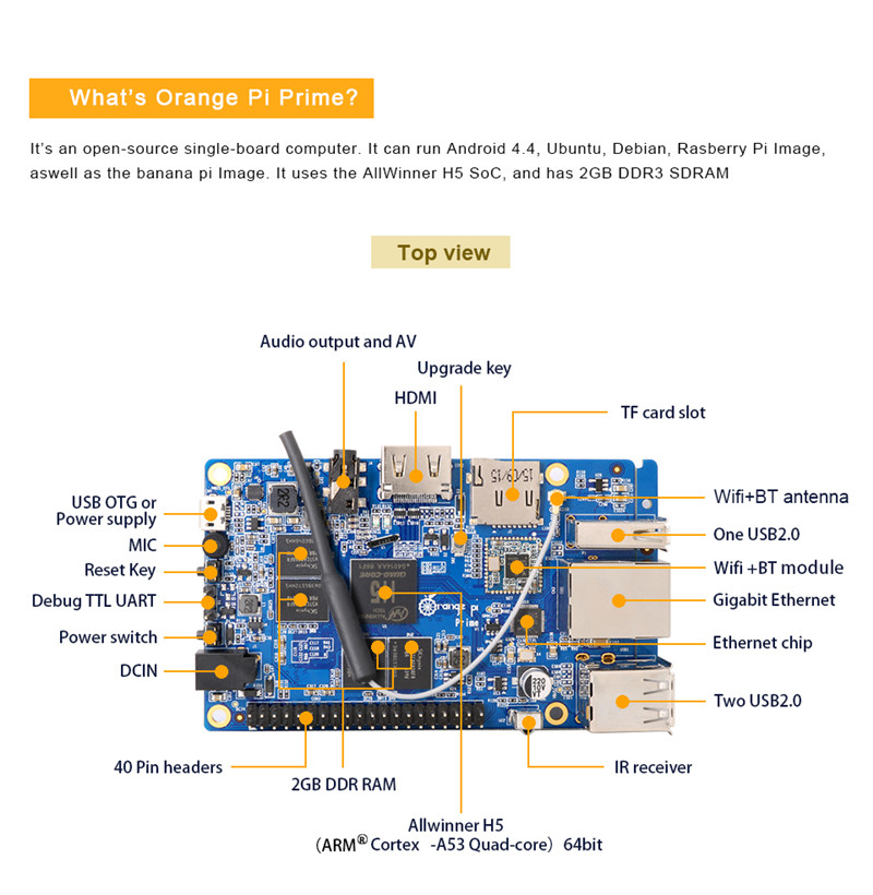 Orange Pi Prime Development Board H5 Quad-core 2GB DDR3 SDRAM Mini PC 5