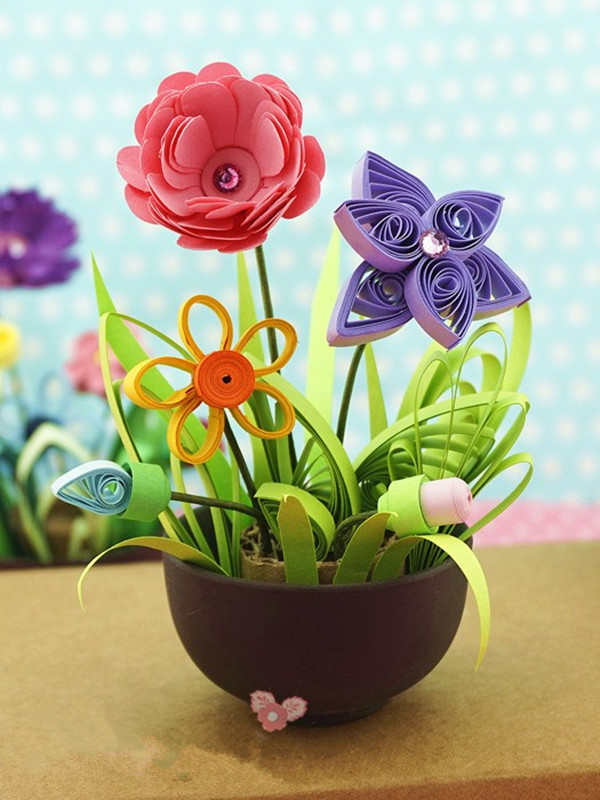Quilling paper flower pot plant color paper art potted craft tool item quilling potted plant paper craft tool set color as pictures shown material plastic metal 1 pack quilling paper 24 colors 10pcs per color mightylinksfo