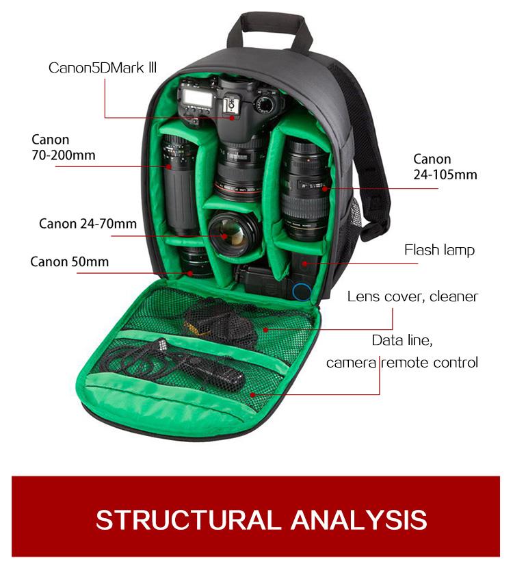 HUWANG 7460 Waterproof Multi-functional DSLR Video Photo Digital Camera Bag Padded Backpack 9