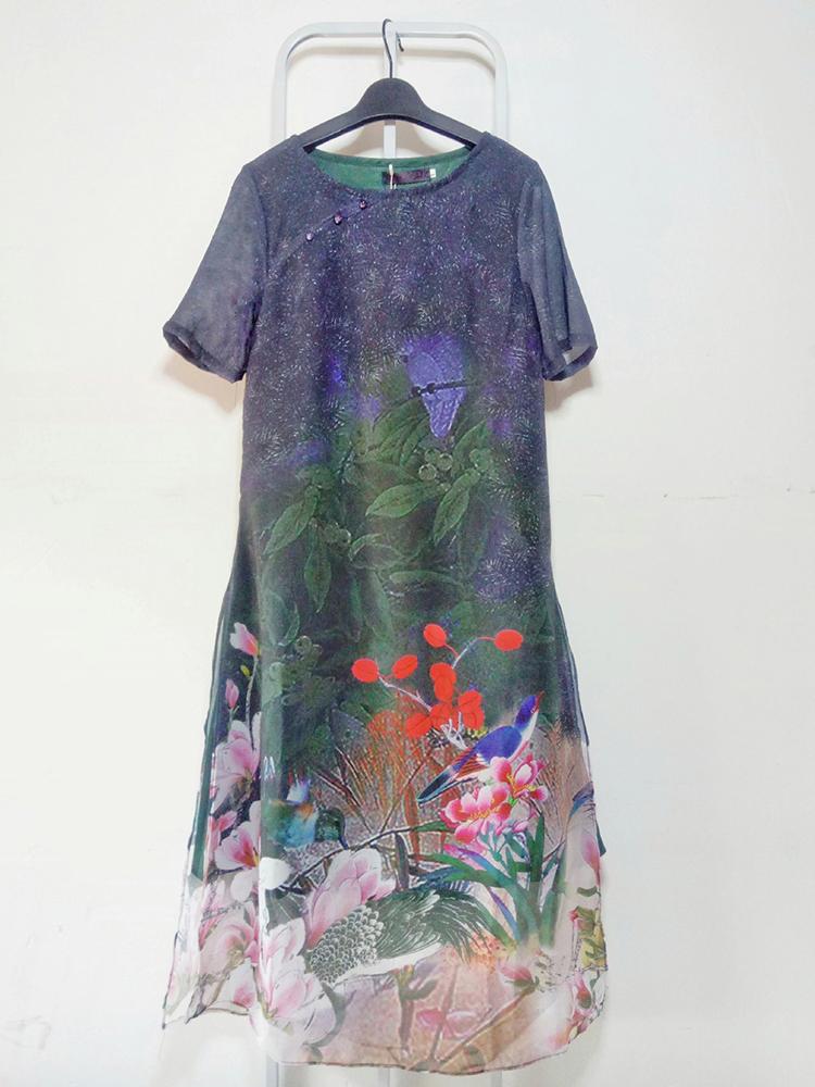 Elegant Floral Print Short Sleeve Loose Split Hem Dresses