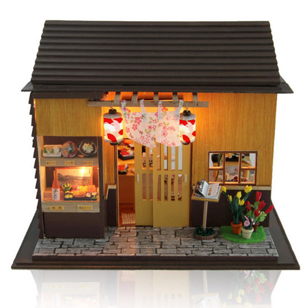 Hoomeda DIY Wood Dollhouse Miniature With LEDFurniture