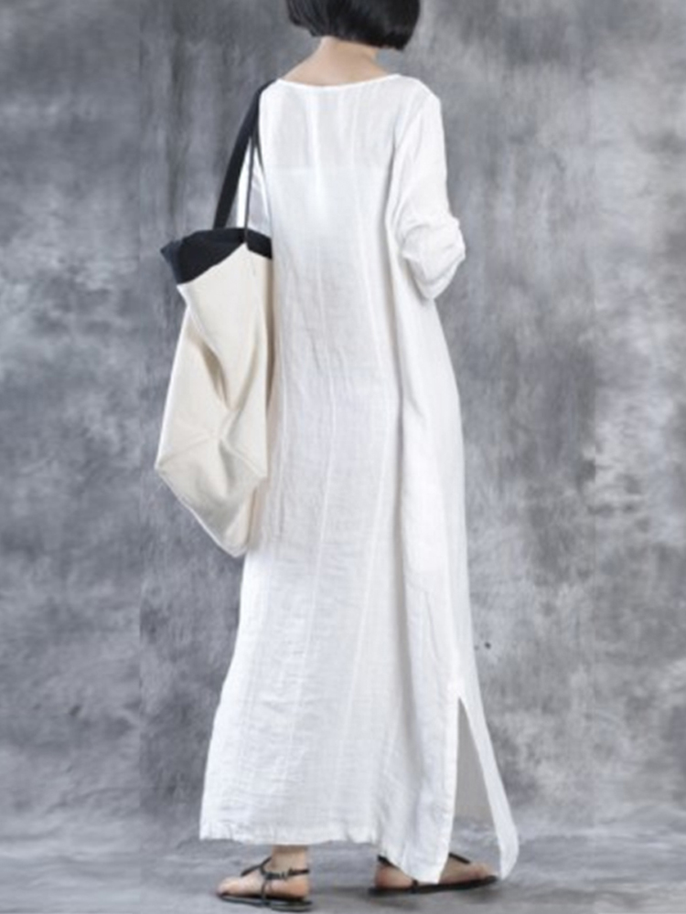 Casual Loose Solid Half Sleeve V-neck Women Maxi Dress
