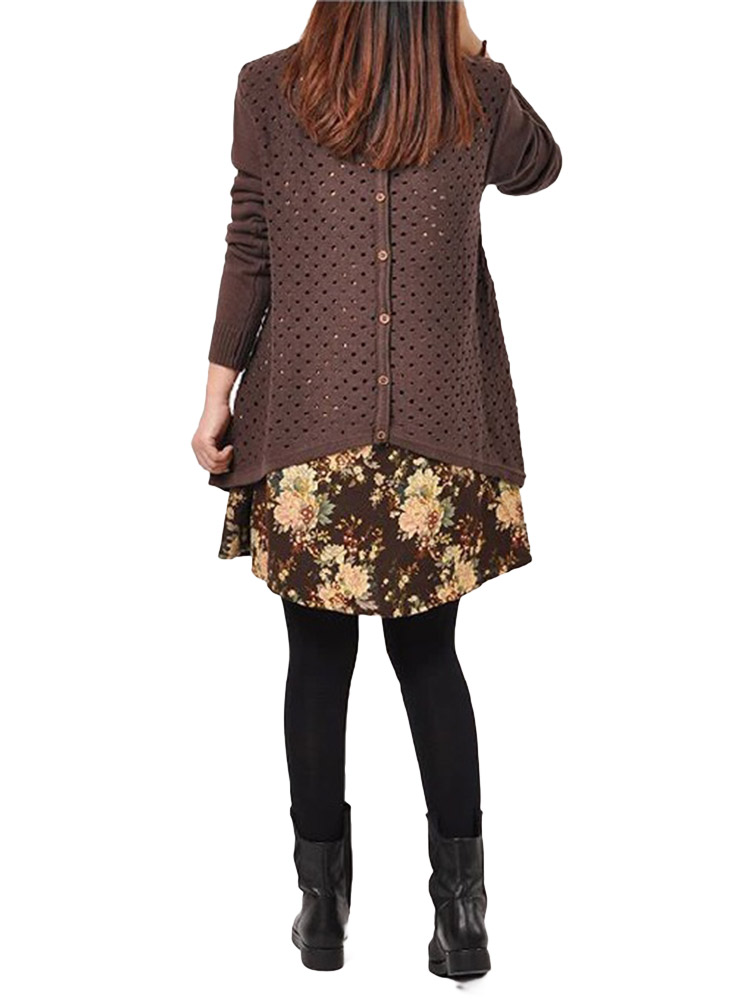 Loose Coffee Printed Two-piece Knitted Sweater Dress