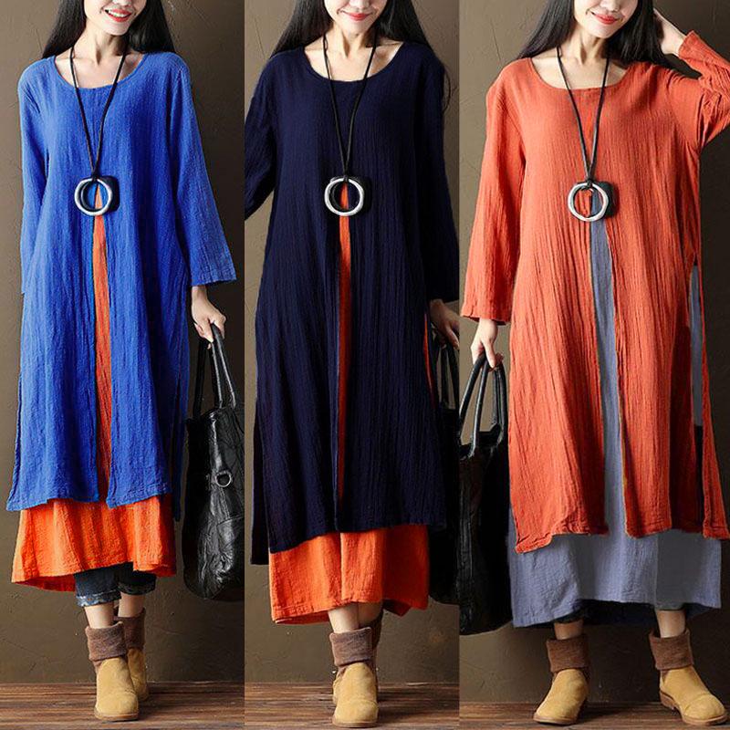 Vintage Women Fake Two Pieces Long Sleeve Split Loose Long Maxi Dresses