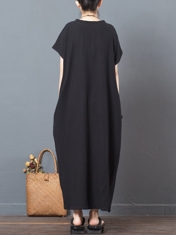 Folk Style Print Patchwork V-neck Short Sleeve Women Maxi Dresses