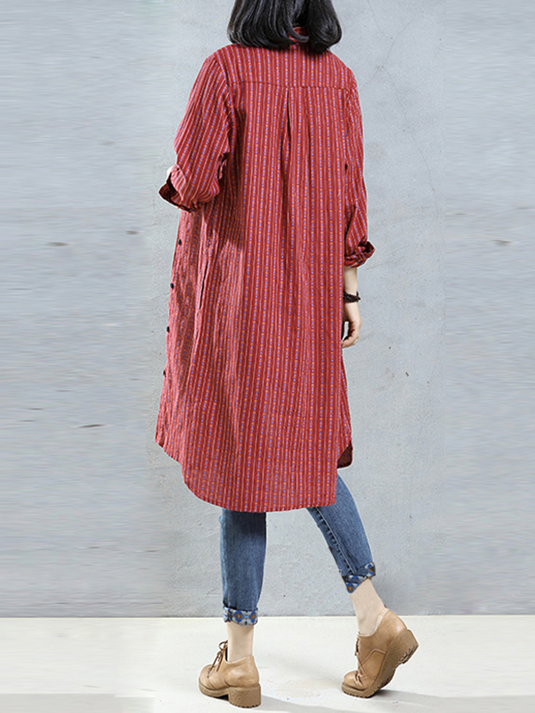 Women Buttons Striped Long Sleeve Casual Asymmetric Shirt Dresses