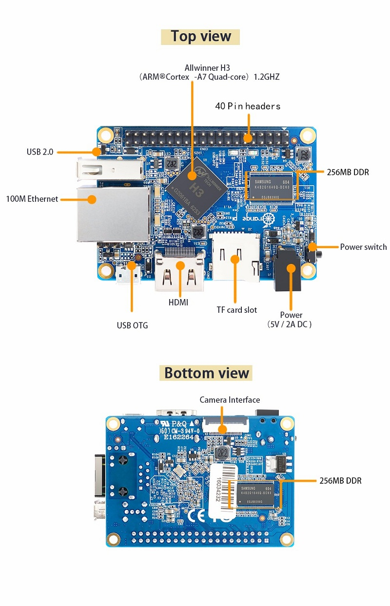 3-in-1 Orange Pi One  512MB H3 Quad-core Development Board + Acrylic Case + Cooling Fan Heat Sink 8