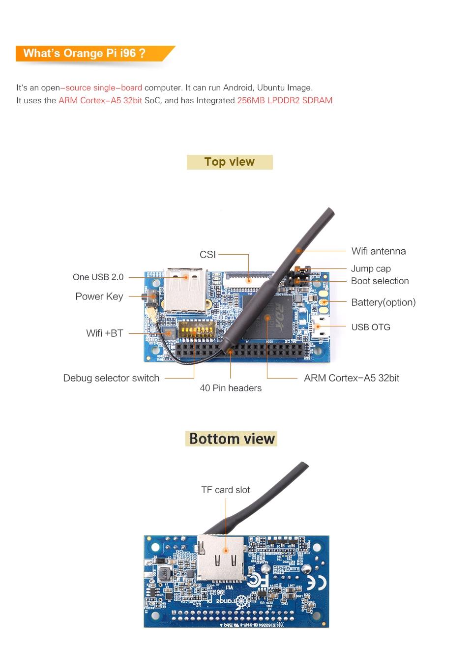 Orange Pi i96 256MB Cortex-A5 32bit Development Board With WIFI And Bluetooth Mini PC 5