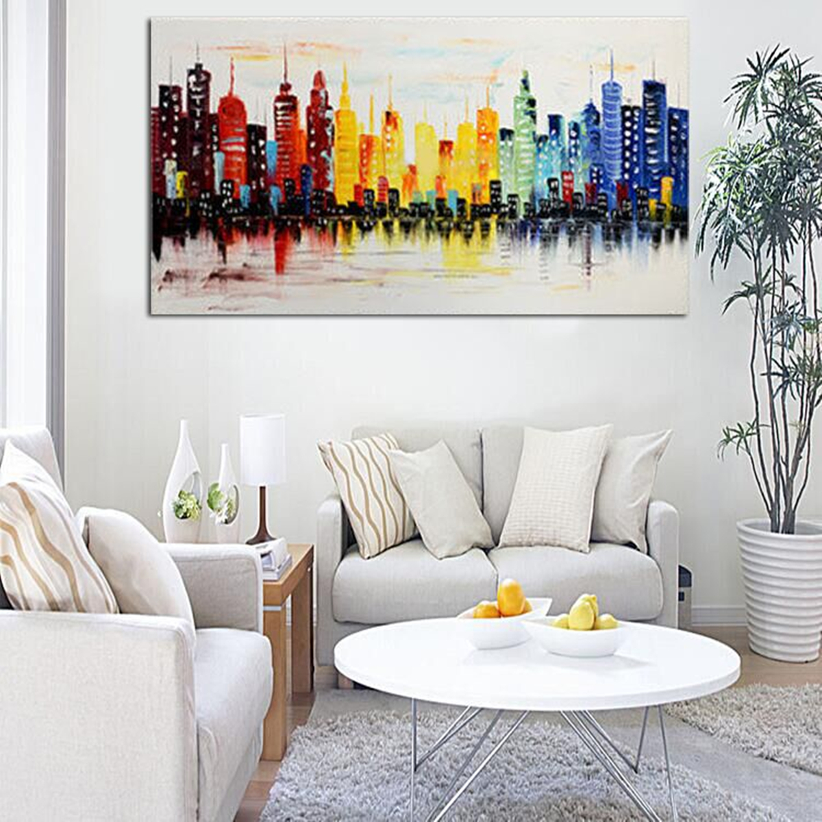 120X60CM Modern City Canvas Abstract Painting Print Living ... on Decorative Wall Sconces For Living Room Ideas id=83732
