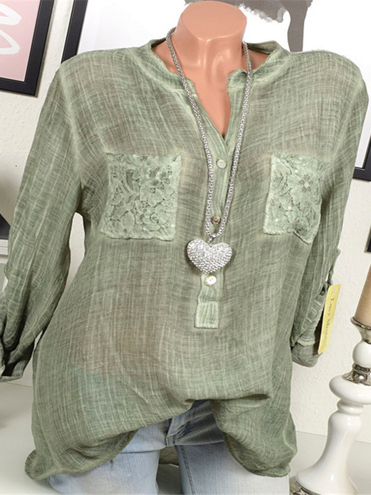 Casual Women V-Neck Lace Patchwork Long Sleeve Blouse