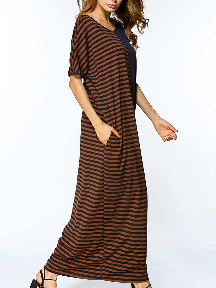 Women Short Sleeve Stripe Patchwork Loose O-neck Maxi Dresses