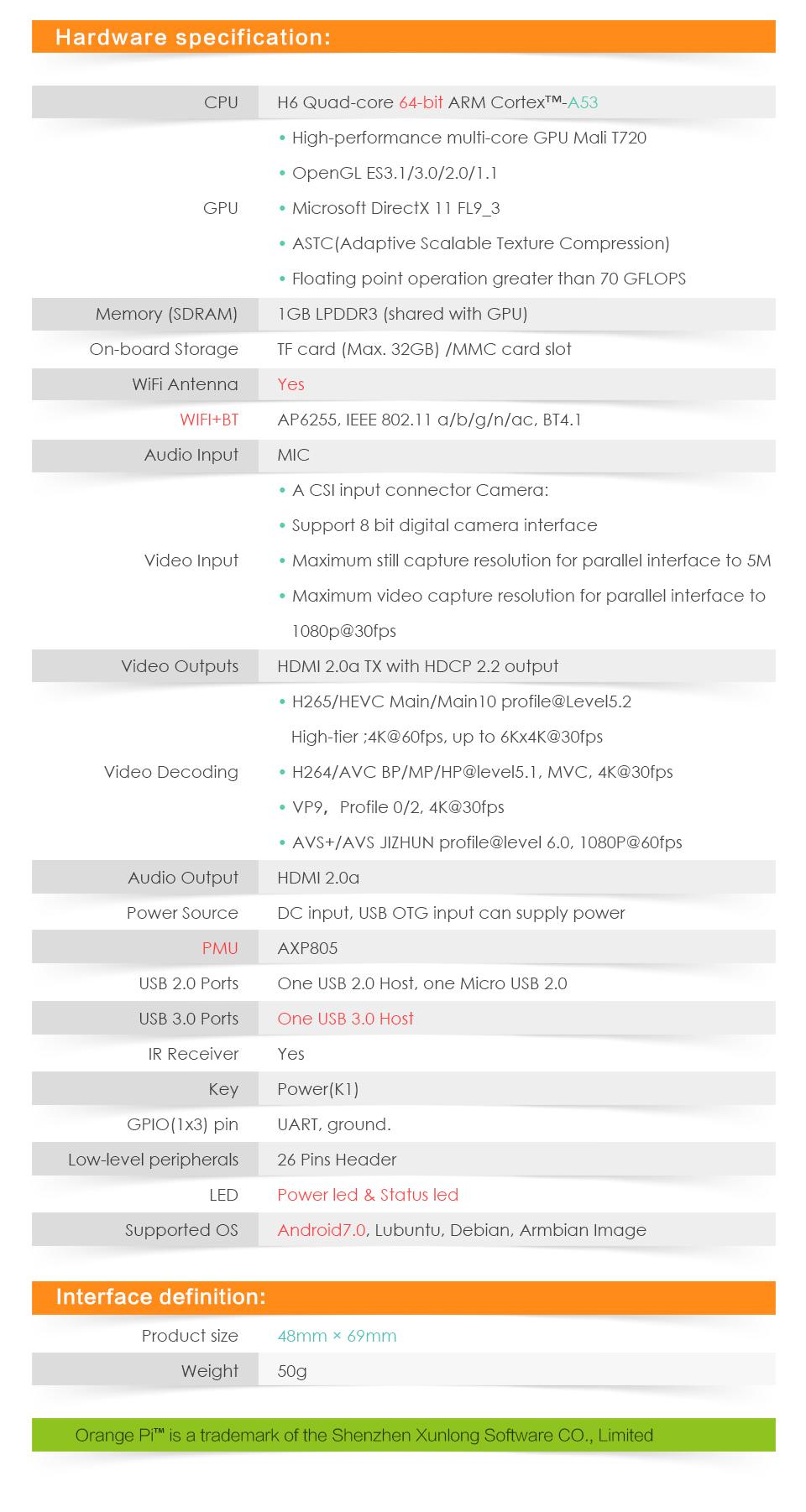 Orange Pi Lite2 H6 1GB USB3.0 Bluetooth4.1 Quad-core 64bit Development Board Support Android7.0 Mini PC 8