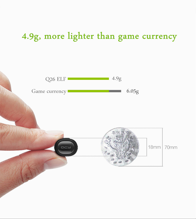 QCY Q26 Super Mini In-ear Universal Wireless Bluetooth 4.1 Headphone Earphone English Voice