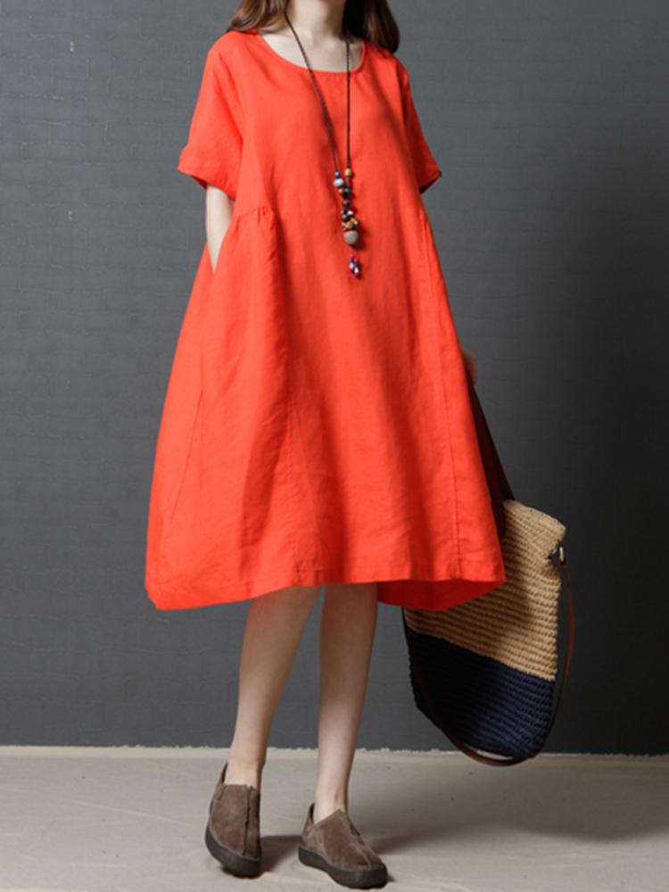 Women Vintage Pure Color Loose Pocket Short Sleeve Dresses