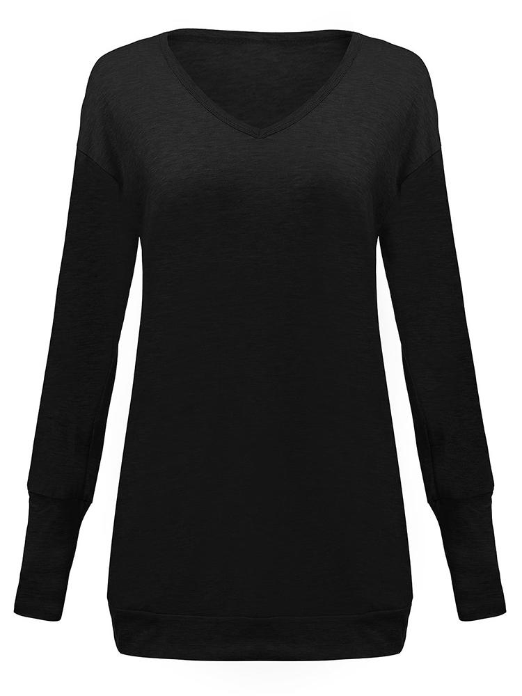 Black Pocket Solid Long Sleeve Dress