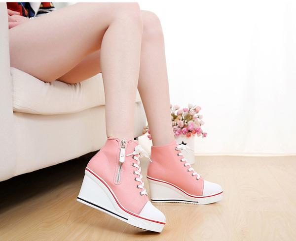 Big Size lace Up Canvas Shoes Zipper High Heels Platform Shoes