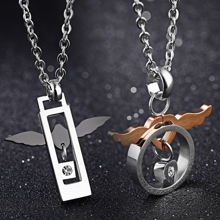 Fashion Love of Angel Stainless Steel Zirconia Lover Couple Necklaces Relationship Necklaces Gift