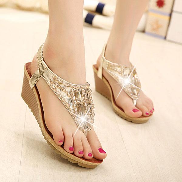 Wedge Heel Beaded Rhinestone Sandals