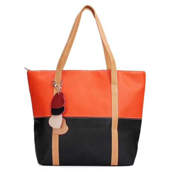 Fashion Women Candy Color Pendant Bag Patchwork Color Block Handbag