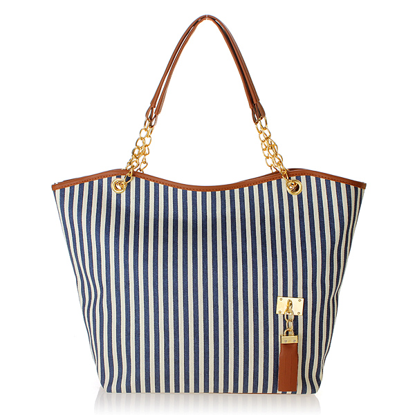 Zanzea Lady Vertical Stripe Tassel Linen Shoulder Handbag