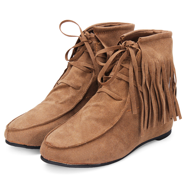 Women Classic Soft Tassels Lace-up Flat Ankle Boots