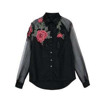 Elegant Tassels Flower Embroidery Organza Patchwork Women Lapel Blouse