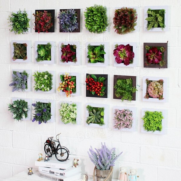 3D Artificial Plant Simulation Flower Frame Wall Decor ... on Hanging Wall Sconces For Flowers id=60047