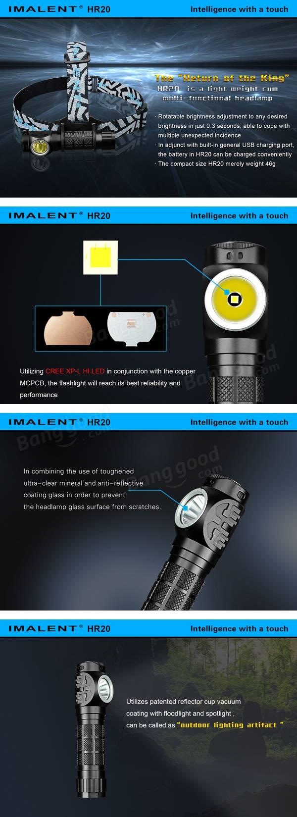 IMALENT HR20 XP-L HI 1000LM 18650 Outdoor LED Headlamp Flashlight