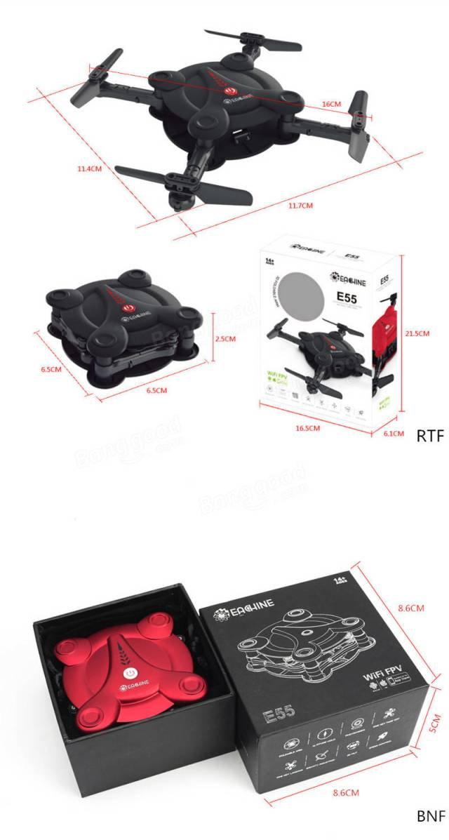 Eachine E55 Mini WiFi FPV Foldable Pocket Drone With High Hold Mode RC Quadcopter