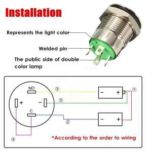 12V 2A 95mm Waterproof LED Metal Cap Power Momentary Push